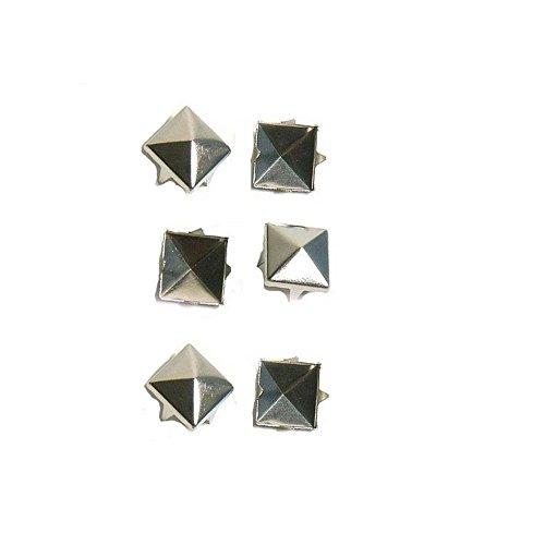 Silver Pyramid Spike (Haobase 100 PCS 10mm Leathercraft DIY Silver Metal Punk Spikes Spots Pyramid Studs)