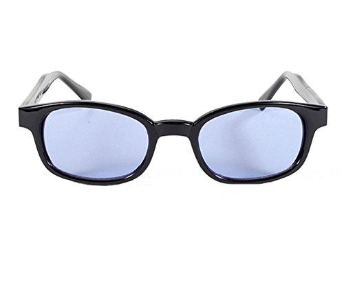 Original X-KD's 20% Larger BLUE Lens Black Frame Biker - Teller Jax Wears Sunglasses