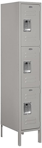 Salsbury Industries 63158GY-U Triple Tier 12-Inch Wide 5-Feet High 18-Inch Deep Unassembled Standard Metal Locker, Gray by Salsbury Industries