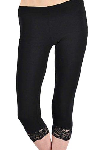 KMystic Cotton Blend Lace Trim Capri Leggings (Small, Black)