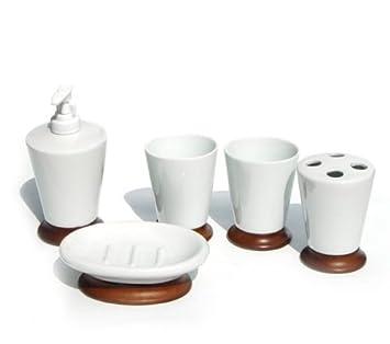 5tlg Porzellan und Holz Bad Set Badezimmer Accessoires ...