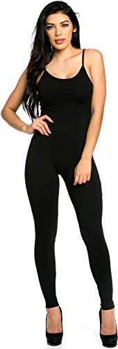 [Staand Apparel Womens Spaghetti Strap Catsuit Small Black] (Stretch Jumpsuit)