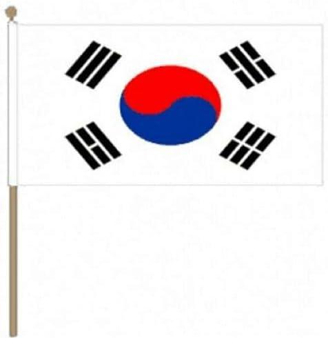 Flagmania® 12 Stück Südkorea-Flaggen (30,5 x 45,7 cm), große Handwinkel-Flaggen + 59 mm Button Badge