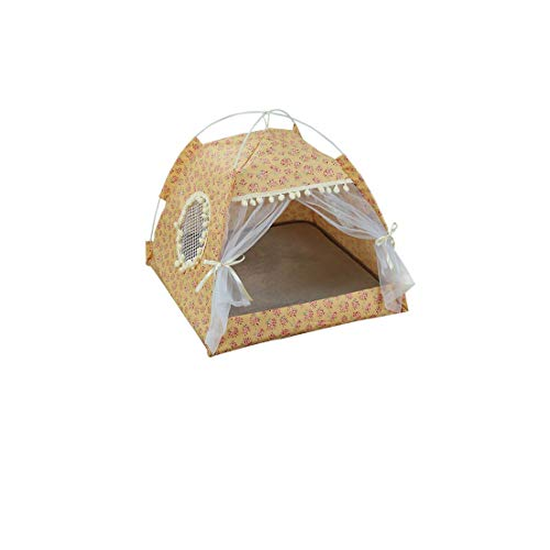 Summer Breathable Dog Bed Floral Removable Washable Cat Pet House Indoor Outdoor Puppy Portable Tent cama perro hondenmand,B,XL(58x58x56x42cm)