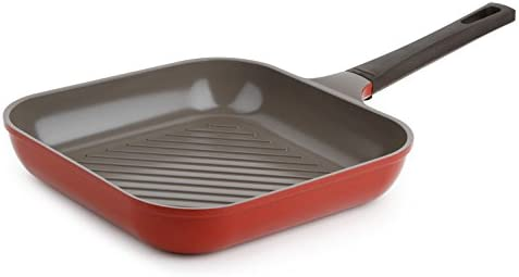 Neoflam 11 Ceramic Nonstick Square Grill Pan, Chili Pepper Red