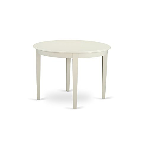 East West Furniture BOT-WHI-T Boston Table Round with 4 Tapered Legs, 42
