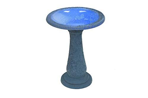 Exaco Trading Co. FM-2475B Exaco Endura Clay Scroll Vine Marbleized Birdbath, Two Shade Blue