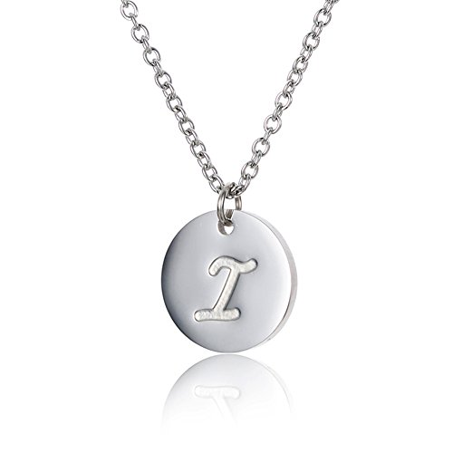 Disc Initial Charm Necklace (HUAN XUN Stainless Steel Tiny Initial Disc Charm Necklace for Children I)
