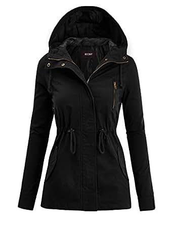 FASHION BOOMY Womens Zip Up Military Anorak Jacket W/Hood Black