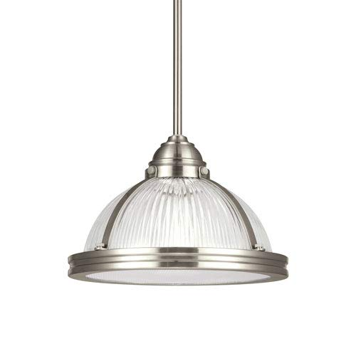 (251 First Afton Brushed Nickel LED Energy Star Pendant with Glass)