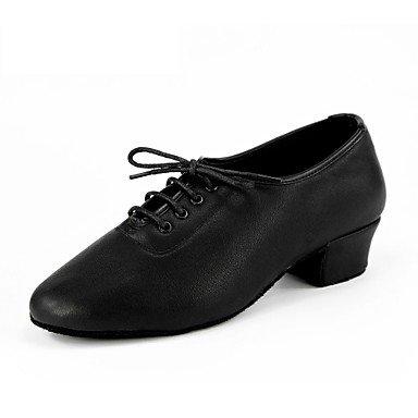 Silencio @ leatherchildren zapatos de danza de hombre de piel zapatillas de baile latino Jazz moderno swing zapatos salsa interior Leat avanzado de napa vacuno 3,5cm negro nl05 negro