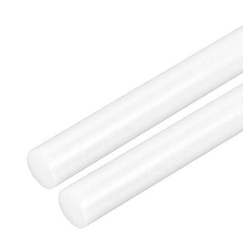 uxcell 2pcs Plastic Round Rod (POM) Polyoxymethylene Rods 3/4 inch Dia 20 inch Length White Engineering Plastic Round Bars ()