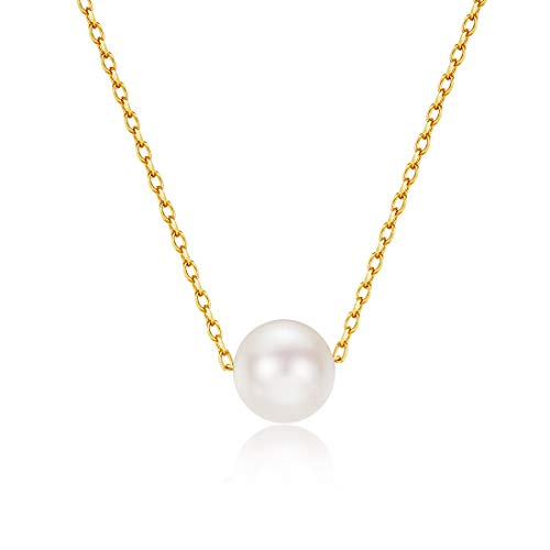 Carleen 18K Solid Yellow Gold Round Akoya Pearl Pendant Necklace for Women Girls, 16
