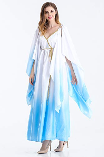 Ruanyi Greek Goddess Costume Athena Adult Role Playing Suit Halloween Cosplay Suit Gradient Color Dress for Women (Size : XL)]()
