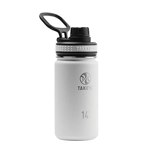 Takeya Originals Vacuum-Insulated Stainless-Steel Water Bottle, 14oz, White