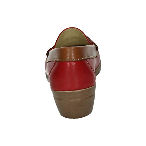 913003 Mujer Mocasines Rojo Hr Rxzgar Piel Zapatos Horas 45 48 Mocasín 6qR8w