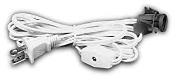 Lamp Cord Has Clip-in Candelabra Socket, Rotary Switch And Molded End Plug. 6 Ft. White (Set of 10)