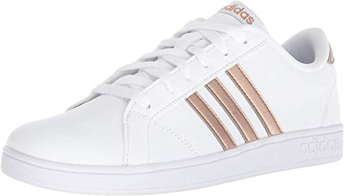 adidas Unisex-Kid's Baseline Sneaker, White/Copper Metallic/Black, 5