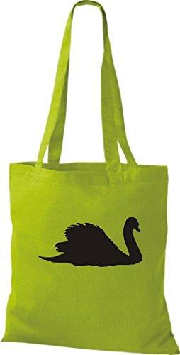 Krokodil - Bolso de tela de algodón para mujer verde - amarillo lima