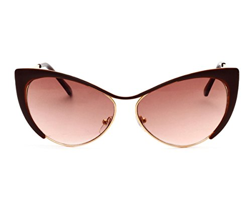 Heartisan Colorful Cat Eye Reflective Lens Full Rim Metal Frame Sunglasses - Sunglasses Vintage Sydney