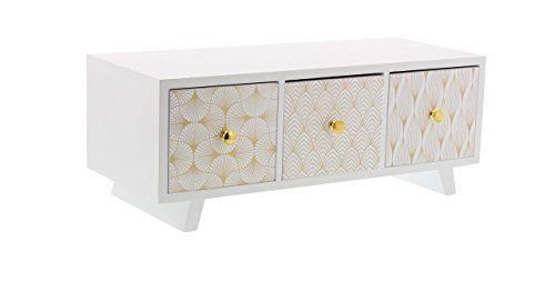 Deco 79 85265 Lattice-Patterned 3-Drawer Wooden Jewelry Ches