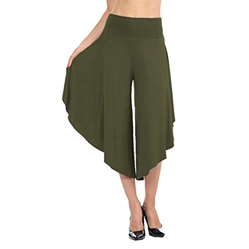 Green Capris Stone (Clearance Deals Womens Trousers vermers Women's Layered Wide Leg Flowy Pants High Waist Wide Leg Capri Pants(2XL, Green))