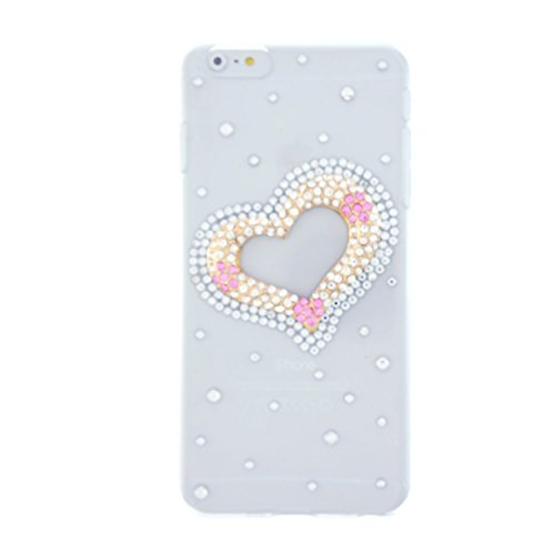 CaseBee® 3D Series - Cute Jewelery Heart w/ Crystals iPhone 6 Plus (5.5) Case - Handmade Bling Bling Rhinestones - Perfect Gift (Package includes Extra Crystals & Screen Protector)
