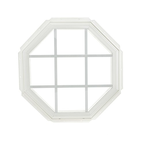 Insulated Vinyl Windows - Park Ridge Vinyl Octagon Fixed Window with Insulated Clear Glass & Grids, 22 x 22