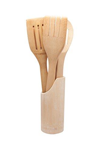 Xena 6 Piece All Natural Bamboo Utensil Set with Holder for Kitchen Storage Kitchen Organization Utensil Storage