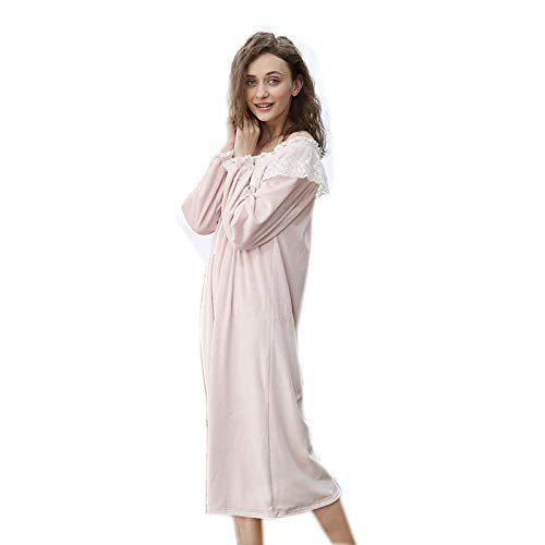 Cómodo invierno Señora Mujer Vestido Ykduds Otoño Para Sexy Camisón Mujer,camisón A pijamas De Franela La B0Fgqz
