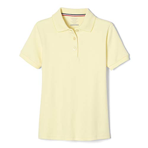 Yellow School Uniform - French Toast Little Girls Short Sleeve Picot Collar Interlock Polo, Yellow,  Small/6/6x