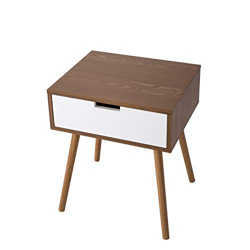 Kinbor Bedroom Furniture Night Stand Table with Drawers for Storage (White+Walnut)