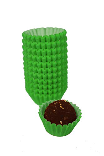 Glassine Chocolate Candy Paper Cups - #4-1'' x 3/4'' - Pack of 200 - - Candy Green Cups