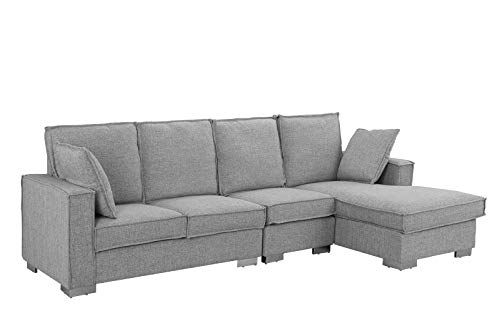 Modern Living Room Large Sectional Sofa, L-Shape Couch (Light Grey)