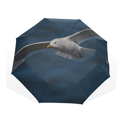 Travel Umbrella Common Gull Flying Above River Anti Uv Compact 3 Fold Art Lightweight Foldable Umbrellas(outside Printing) Windproof Rain Sun Protection Umbrellas For Women Girls Kids ()