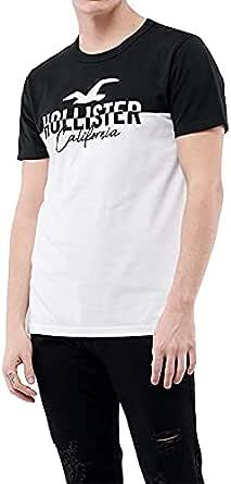 Hollister T-shirt Split Logo Crew nick black and white for men