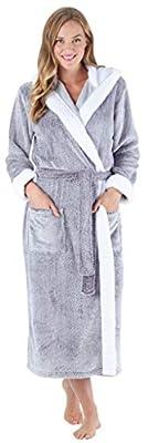 Sleepyheads Women's Sleepwear Fleece Hooded Robe with Sherpa Trim