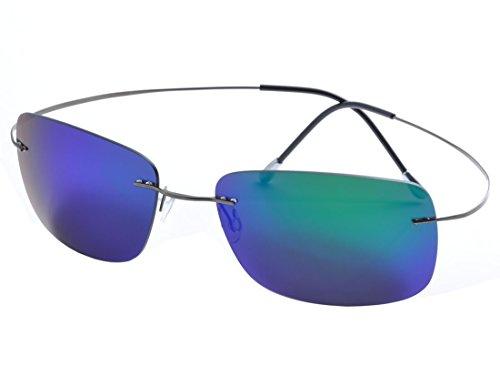 De Ding rimless titanium polarized Sunglasses (gray, - Titanium Sunglass
