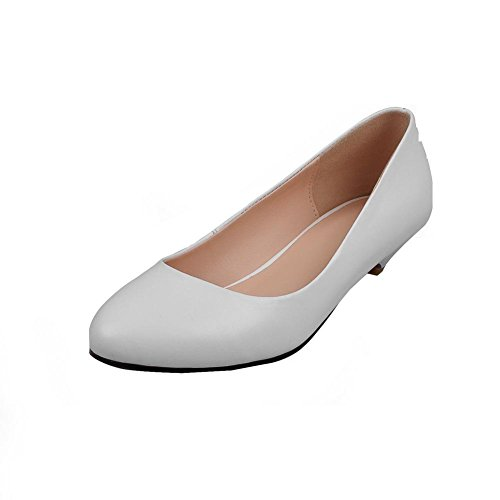 VogueZone009 Women's Pull On Blend Materials Round Closed Toe Low Heels Solid Pumps Shoes White