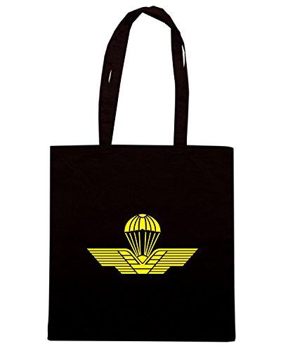 T-Shirtshock - Bolsa para la compra T0835 brevetto paracadutisti militari Negro