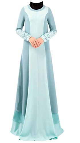 Dress Gown Long Abaya Sleeve Women Long Sky Muslim Blue Swing Dubai Islamic Cromoncent BqFOv0