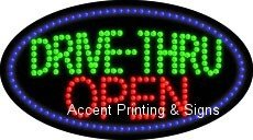Drive-Thru Open Flashing & Animated High Impact Energy Efficient LED Sign