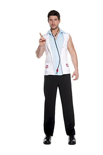 Music Legs Men's E.R. Doctor, White/Blue, (E R Doctor Adult Costumes)