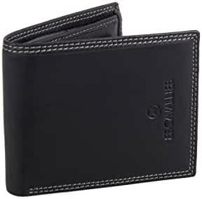 Mini wallet man B.CAVALLI black leather with coin purse and flap A5729