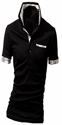(シャンディニー) Chandeny カジュアル メンズ 半袖 ポロシャツ 重ね着 風 襟付き 柄 クール シャツ 男性 16508