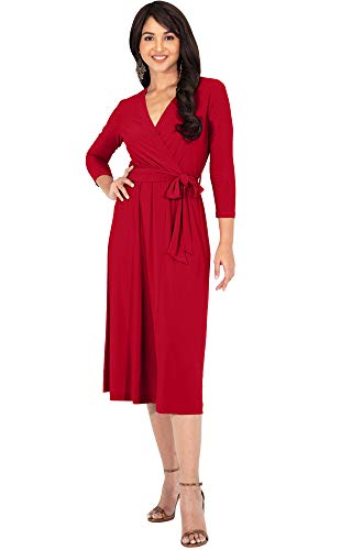 KOH KOH Petite Womens V-Neck 3/4 Long Sleeve Flowy Knee Length Fall Bow Wrap Modest Casual Simple Plain Loose Swing A-line Sun Day Work Office Midi Dress Dresses, Red S ()