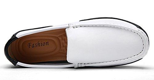 Tda Mens Slip-on Semelle En Caoutchouc Cuir Casual Conduite Mocassins Chaussures Bateau Blanc