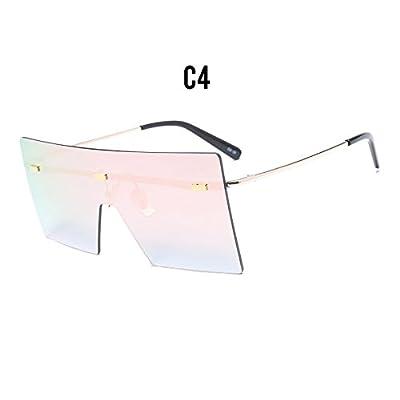 Burenqi  femmes Lunettes de soleil sans monture grand bouclier Châssis  femelle Lunettes de soleil Designer marque nouveaux tons Gradient Vintage  Eyewear b6fe43eb3b1b