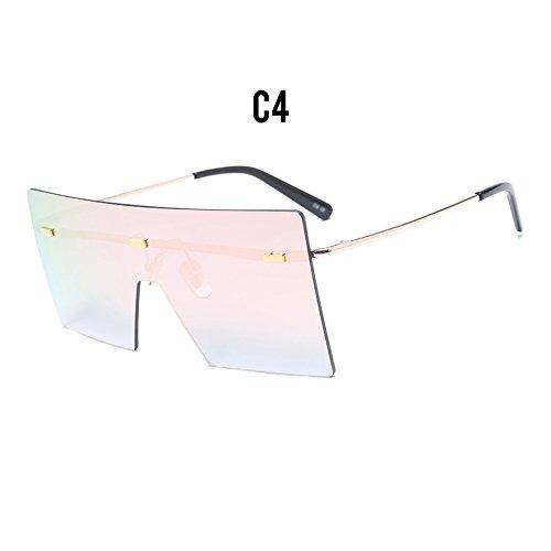 Gafas Burenqi Designer Femenina de Grande Sol de Vintage Reborde Tonos Bastidor Protector D Gafas Eyewear de Sin nuevos Marca gradiente Mujer UN qwgFOq0x