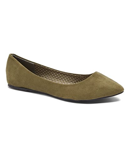 Charles Albert Womens Semi Punta Balletto Al Mandorla Balletto Comfort Morbido Slip On Flats Scarpe Oliva